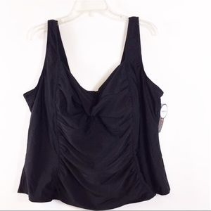 Swimsuits for All Black Tankini Swim Top Size 28